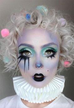Halloween Makeup Ideas: Pastel Clown Makeup for Halloween # makeupideas # Be . - Halloween Makeup Ideas: Pastel Clown Makeup for Halloween # makeupideas # Beaut … – Halloween M - Halloween Clown, Cool Halloween Makeup, Halloween 2019, Cute Clown Makeup, Halloween Cosplay, Easy Halloween, Womens Clown Makeup, Creepy Clown Makeup, Halloween Eyeshadow