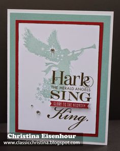 Christmas card using Close to My Heart's Exclusive Hostess Rewards stamp set, Sing Glory.