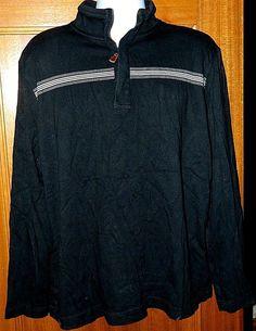Men's Banana Republic Pullover Sweatshirt 100% Cotton Long Sleeve ¾ Zip Black XL #BananaRepublic #SweatshirtCrew