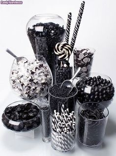 Rock Candy Chewy Nuggets - Black Cherry: Tub Rock Candy Chewy Nuggets – Black Cherry: Tub Love this black and white candy bar idea! Black White Parties, Black And White Theme, All Black Party, Black And White Party Decorations, Black And White Centerpieces, Black N White, White Decor, Black Art, Festa All Black