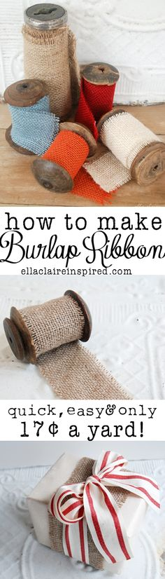 How to Make Burlap Ribbon the Cheap and Easy Way! For only 17 cents a yard, it is perfect for holiday crafts! Great for working with burlap crafts! Burlap Projects, Burlap Crafts, Diy Projects To Try, Fabric Crafts, Crafts To Make, Fun Crafts, Sewing Crafts, Sewing Projects, Craft Projects