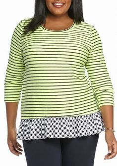 Crown  Ivy  Lime GreenNavy Plus Size Stripped Peplum Two-In-One Top