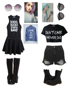 """""""Untitled #228"""" by akwardpotato on Polyvore featuring Frye, Monki, High Heels Suicide, Yves Saint Laurent, Topshop and Dr. Martens"""