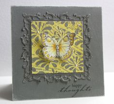 handmade card from Linda Beeson: Happy Thoughts card ... luv how gray and yellow and a bit of white look together! ... gray card base and Spellbinder's ornate square sanded on the edges ... silver embossed background registers gray in photo ... yellow Distress Inks on focal point background ... sweet butterfly with yellow Copic coloring  ... Liquid Pearls dotted around for a bit of glitz ... luv this card!!
