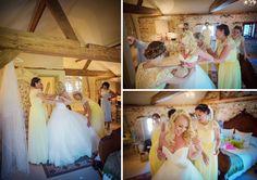 Upwaltham Barns getting ready in Jasmine Cottage. Wedding of Phil & Netty