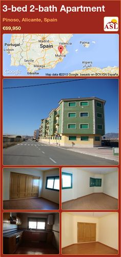 Apartment for Sale in Pinoso, Alicante, Spain with 3 bedrooms, 2 bathrooms - A Spanish Life Apartments For Sale, Murcia, Valencia, Portugal, Underground Garage, Granite Worktops, Alicante Spain, Fitted Wardrobes, Palmas