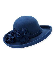 Look at this #zulilyfind! Blue Rosette Bonham Wool Felt Bowler Hat by ADORA #zulilyfinds