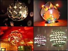 Making chandelier and lamps with old CDs Decorate Parties With Old CD´s