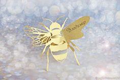 """Купить """"Пчела"""" банкетная карточка_кольцо для салфетки - комбинированный, Праздник, свадьба, медовое, медовая свадьба"""
