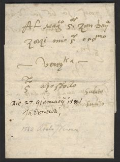 """This letter, carried by private courier in 1582, might be called an early example of express mail! The sender wrote """"subito, subito"""" on the right-hand side - an Italian injunction for the courier to deliver the letter """"immediately, immediately."""""""