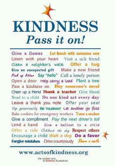 Random Acts of Kindness... pass it on!