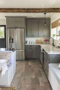 43 Best Farmhouse Gray Kitchen Cabinet Design Ideas