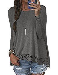 New Halife Women's Crewneck Long Sleeve T-shirts Tops with Lace and Crochet Trim online. Find the perfect Zeagoo Tops-Tees from top store. Sku LLIL89149GQWG46707
