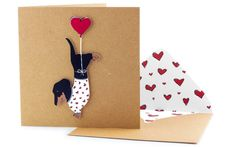 Handmade Valentines Card  Cute Dachshund in Heart by TacheCrafts