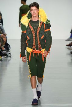 The Sibling show is usually the one place in the men's collections where you're guaranteed to find crochet. But Spring 2016... not so much. This mostly knit jacket is sadly as close as it gets. We'll just have to cling to our memories of their previous amigurumi-heavy collection.