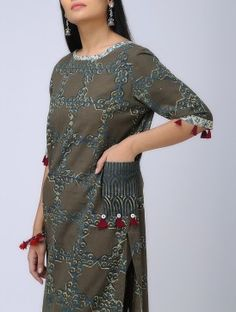 Grey-Blue Natural-dyed Block-printed Boat Neck Cotton Kurta
