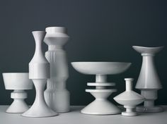 Linck - A unique combination of the utilitarian and the sculptural, these modernist vases by Swiss ceramicist Margrit Linck (featured in W*148) give us a good reason to regularly showcase our blooms. Although Linck's vases have geometric looks that hint to machine-made beginnings, all her creations were thrown by hand on the wheel – a technical feat that makes each black- or white-glazed piece a work of art in its own right