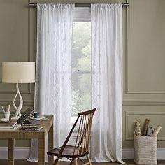 SALON: Jolies rideaux avec patron subtile. Diamond Block Window Panel #WestElm
