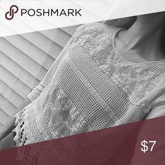 Cream T-shirt with Lace Overlay Lovely cream t-shirt with a cotton overlay! Dress it up or down- so versatile! Will fit a shortwaisted lady the best. I adore this top, but cannot wear it because I have such a long torso! Xhilaration Tops Tees - Short Sleeve