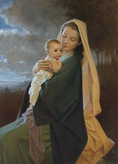 Treasured in Her Heart - mother and baby by artist Kathy Lawrence