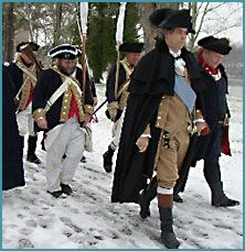 Washingtons Crossing, Bucks county Every Christmas there is a re-enactment of Washington's crossing of the Delaware river from Pa. to NJ.