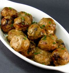 Swedish Meatballs - used ground beef instead of turkey & served over egg noodles. YUM!!