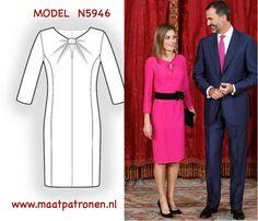 Royalty hebben altijd perfecte look, denkt mens. Wilt u ook een een jurk in eigen kast hebben die was geïnspireerd door de jurk van de koningin van Spanje Letizia? Dat kan. Alstublieft, MODEL N4956