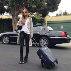 Travel Style: Aimee Song chooses her J BRAND Nicola Leather Super Skinnies for the flight.