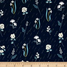 Designed by Rashida Coleman-Hale for Cotton + Steel, this cotton print fabric is perfect for quilting, apparel and home decor accents. Colors include navy, mint, yellow, white and blue.