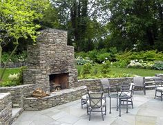 Fieldstone Fireplace  Outdoor Fireplace  Summerhill Landscapes  Sag Harbor, NY,