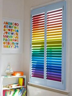 Rainbow window shutters Rainbow Playroom Inspiration | Found on rainblowg.tumblr.com