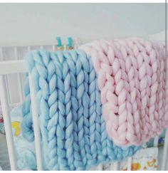 Giant knitted Baby blaket Chunky Knit Throw Merino Wool Blanket Nursery decor gift UK seller