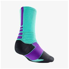 NIKE HYPER ELITE Dri-Fit HORNETS SOCKS SX4801-357 Teal, Purple 4-6 Small NWT #Nike #Socks