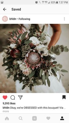 Protea Wedding, Boquette Wedding, Dusty Rose Wedding, Flower Bouquet Wedding, Wedding Beauty, Floral Wedding, Protea Bouquet, Flower Decorations, Wedding Bouquets