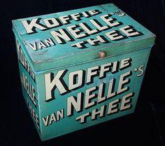 Groot blauw vanNelles koffie-thee blik.