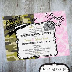 Army Green or Beauty Queen Gender Reveal Party Invitation Printable invite by Luv Bug Design