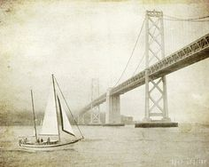 """Nautical wall art - vintage style sepia - sail boat print - sailing decor - San Francisco - bay bridge photograph  """"Sailing the Bay"""""""
