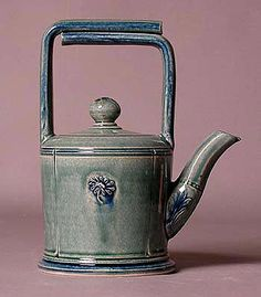 Ceramics by Andrew and Joanna Young at Studiopottery.co.uk - Aqua tophandle teapot.