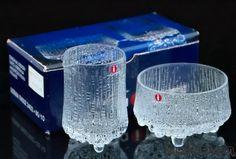 BRAND NEW ORIGINAL TAPIO WIRKKALA IITTALA GLASS CREAMER AND SUGAR BOWL BOXED
