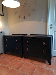 Vintage Dark blue updated bedside drawers created by Revivals and Restorations Ltd Bedside Drawers, Painted Furniture, Restoration, Dark Blue, Cabinet, Storage, Inspiration, Vintage, Home Decor