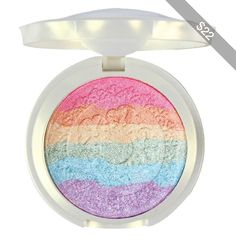 Makeup Rainbow Highlighter Eyeshadow Palette Baked Blush Terrece Handmade Face Shimmer Powder Color #1