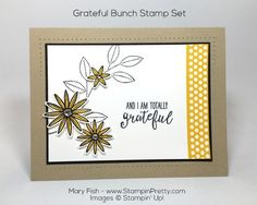 Grateful Bunch stamp set and Blossom Bunch Punch play happily on this thank you card designed by Mary Fish, Independent Stampin' Up! Demonstrator.  Details, supply list and more card ideas on http://stampinpretty.com/2016/01/making-a-case-for-a-grateful-bunch-card.html