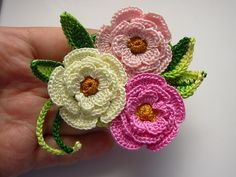 Crochet Flower Brooch Pin Cotton Floral irish by FlowersbyIrene www.etsy.com