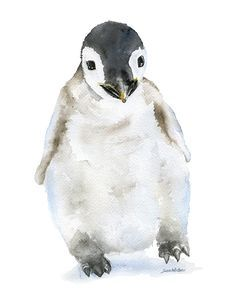 Baby Penguin watercolor giclée reproduction. Portrait/vertical orientation. What a sweet print in your nursery or play room. Printed on fine art paper using archival pigment inks. This quality printin