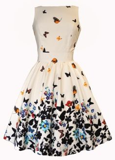 White Butterfly Tea Dress : Lady Vintage