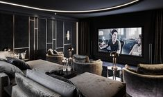 Stunning cinema room by One more render of Cinema room) Финал. by by Audio Visual Solutions Home Theater Room Design, Home Cinema Room, Home Theater Rooms, Home Theater Seating, Salas Home Theater, Media Room Decor, Media Rooms, Living Room Theaters, Music Studio Room