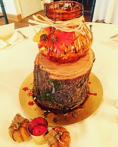 Shower centerpiece, fall, pumpkin, wood slab, gold charger