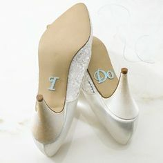 """I Do Shoe Stickers.  Maybe add his shoes saying, """"I do"""".  or his saying, """"will you"""" and hers saying """"I will"""""""