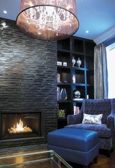 Metallic tile fireplace & incredible chandelier ❤ #homedecor #SilkDegreesHome