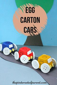 Simple Egg Carton Car craft for kids. Easy arts & crafts with recyclables #funcrafts